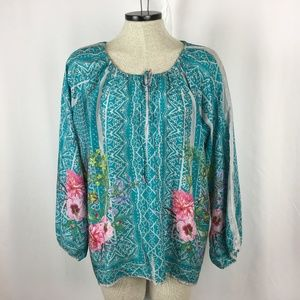 Johnny Was Silk Peasant Blouse XL 16 18 Turquoise